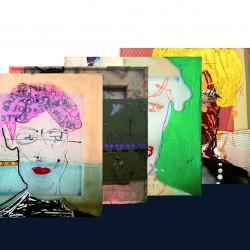 Ein schöner Rücken 1 -10 , je 30 x 30 cm, Mixed Media on PES Gaze/ Baumwolle, Birgit Herzberg-Jochum