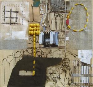 Daydream II, 30X30 cm/ Mixed Media on Cotton/2011, Birgit Herzberg-Jochum