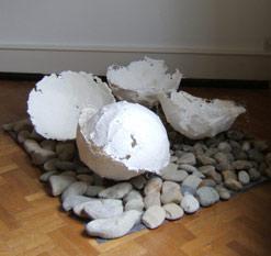 """""""Papierschalen"""", Handgeschöpfte Hauben aus Papier, Durchmesser ca. 45 cm, Barbara Lörz"""