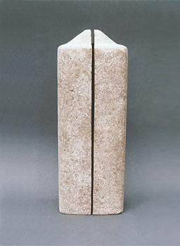 """Stele 1"", gebrannter Ton, Engobe, 29x10cm, 2005, Anna Hafner"