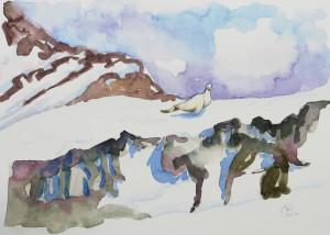 Arlberg, Aquarell, 2014, Dorothee Nestel
