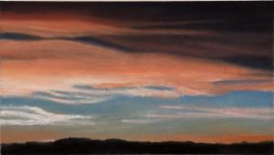 """Andrea Eitel, """"Sonnenuntergang"""" 2015 25,2x 32,5 cm Öl auf Baumwolle auf Holz"""