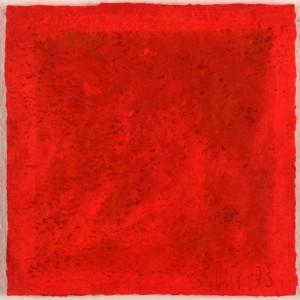 "Susan Tauss ""rot/rot"" aus dem Zyklus Tagebuch 9 mal rot 25x25 cm Acryl auf handgeschöpftem Büttenpapier 2013"