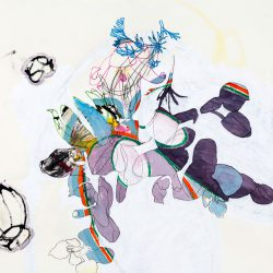 Karin Dorn-Tetzlaff, Mischtechnik auf Büttenpapier, ca. 80 x 80 cm, WR in paradise, 2016